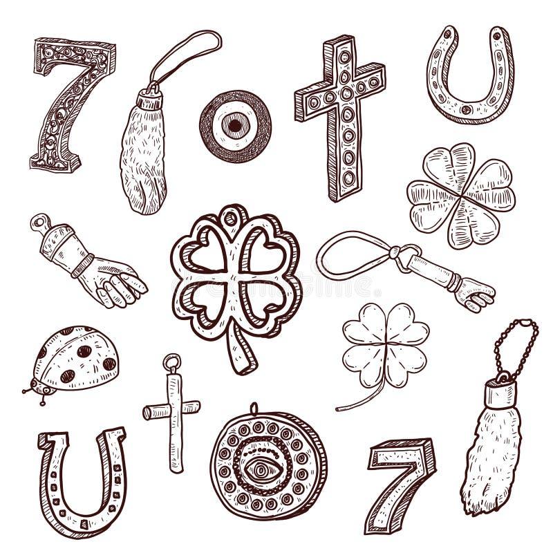 Doodle szczęścia stylowi symbole ilustracji