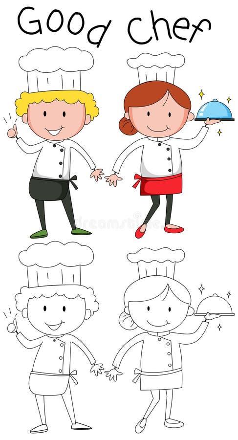 Doodle szefa kuchni charcater na białym tle ilustracji
