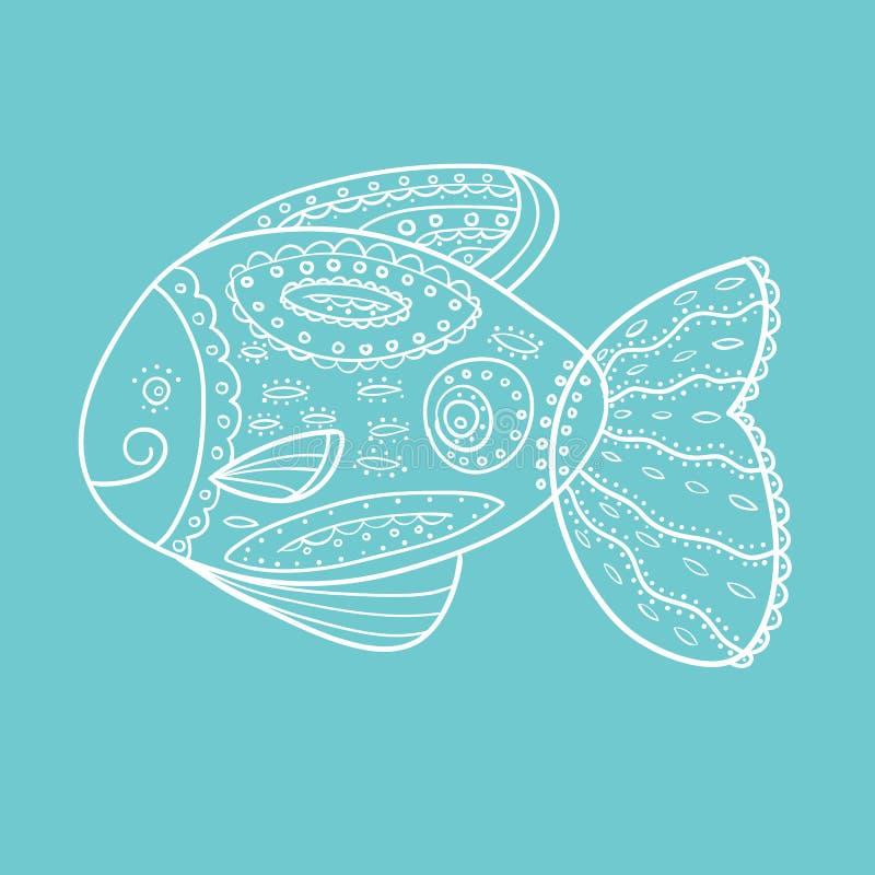 Doodle Szkicowa rybia Wektorowa ilustracja ilustracji