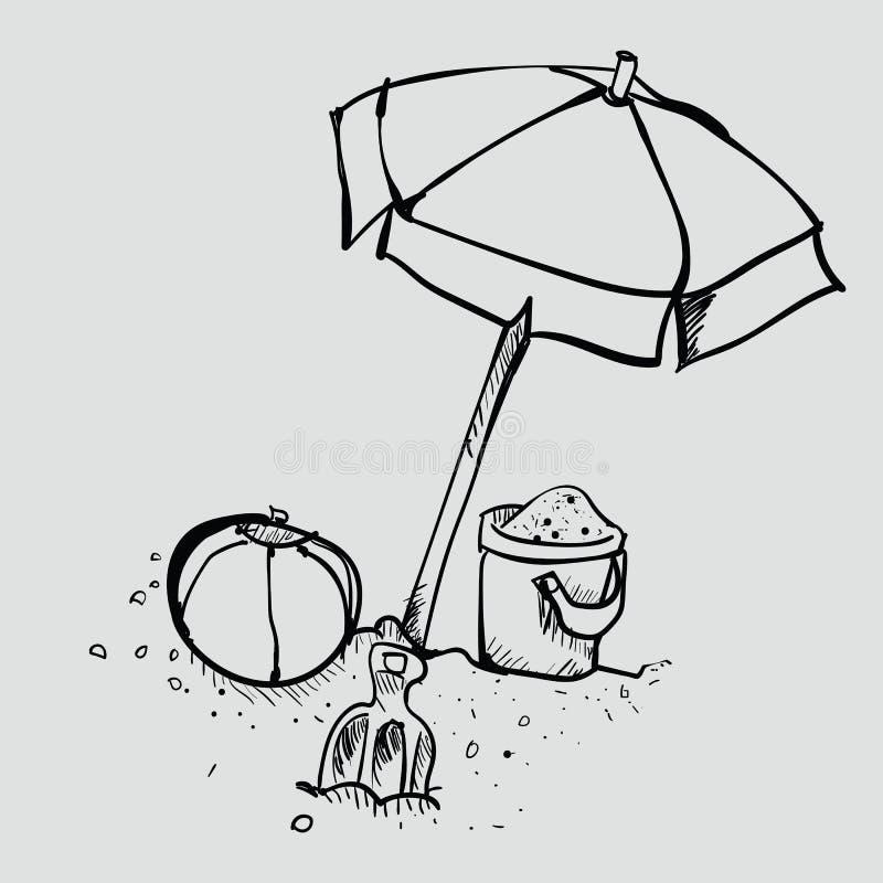 Doodle sztuka na plaży ilustracji