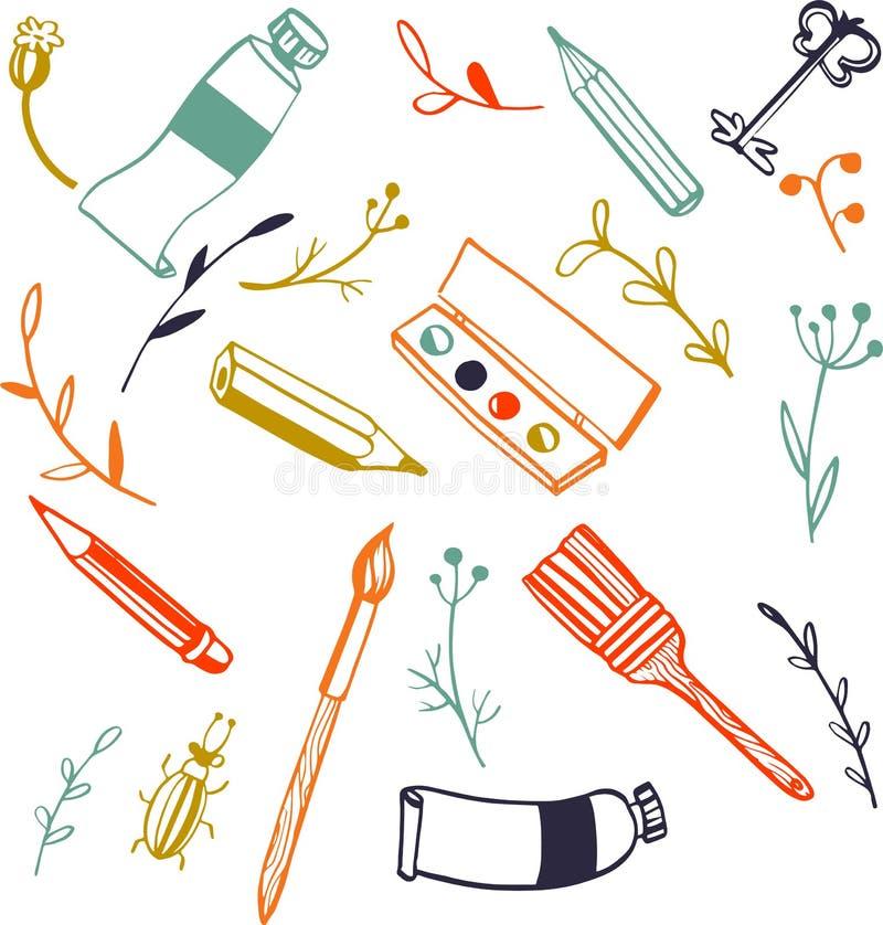 Doodle sztuki materiały ilustracja wektor