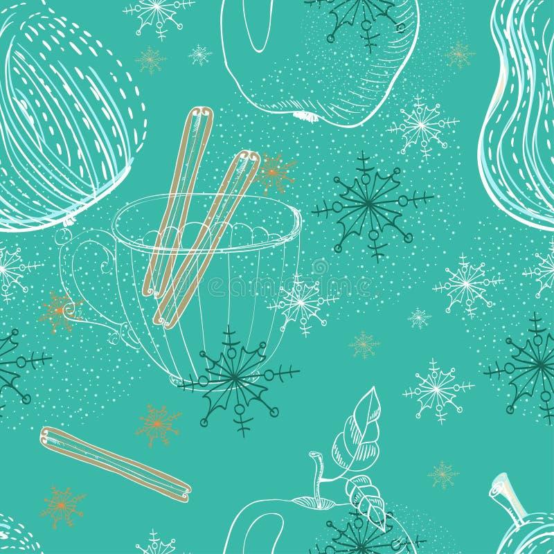 Doodle tło z jabłkiem, bonkretą i płatkami śniegu, bezszwowy patt ilustracja wektor