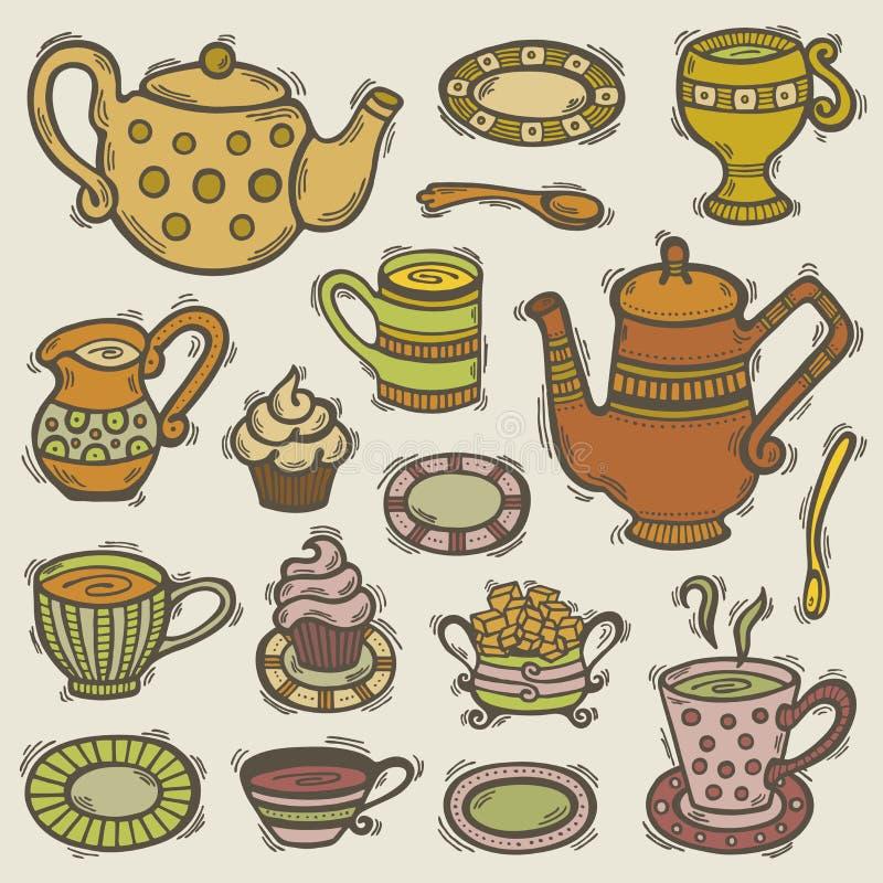 Doodle Tea Set Royalty Free Stock Images