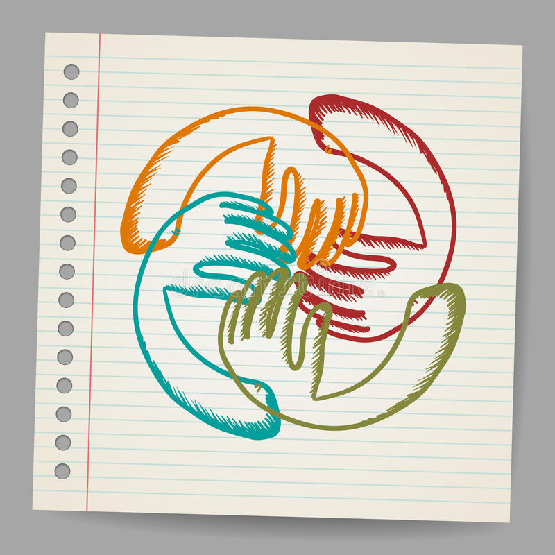Download Doodle Teamwork Hands On Sheet Of Paper Stock Photography - Image: 28648372