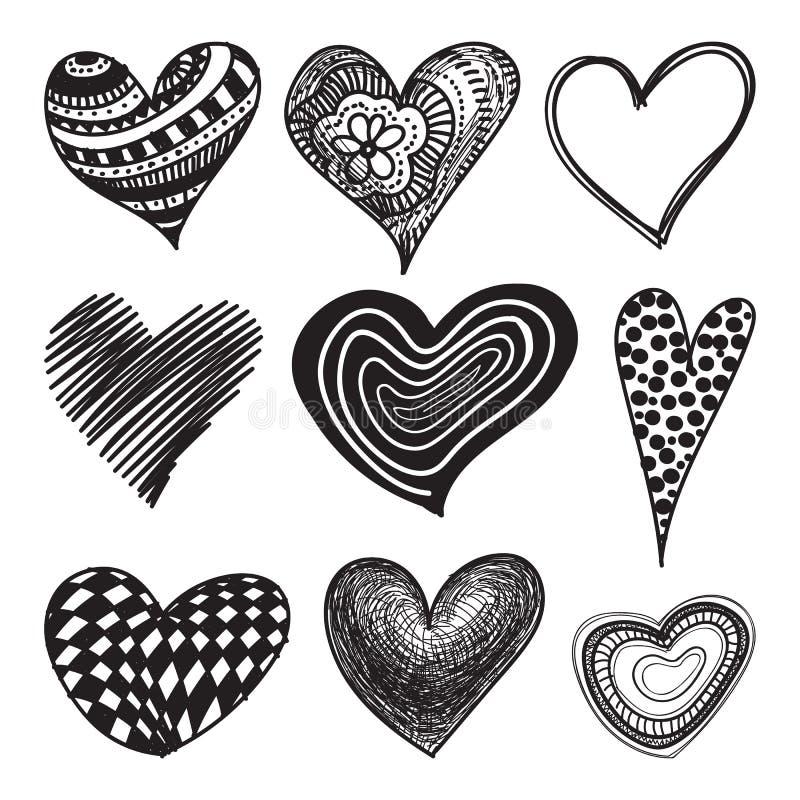 Doodle textured hearts set royalty free illustration