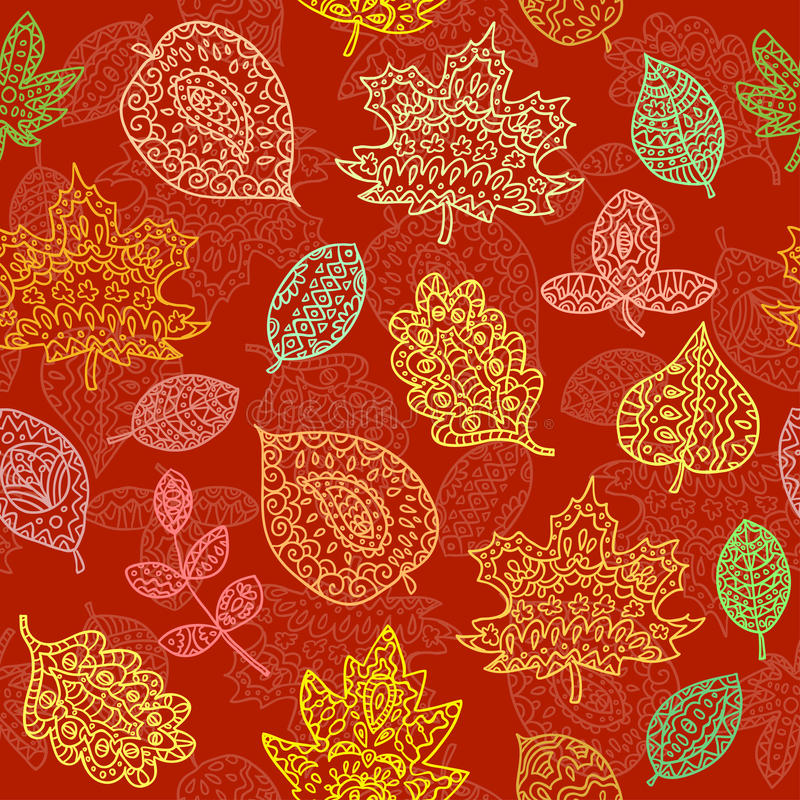 Doodle textured leaves seamless pattern. Endless texture can be used for printing onto fabric, paper or scrap booking, wallpaper, pattern fills, web page royalty free illustration