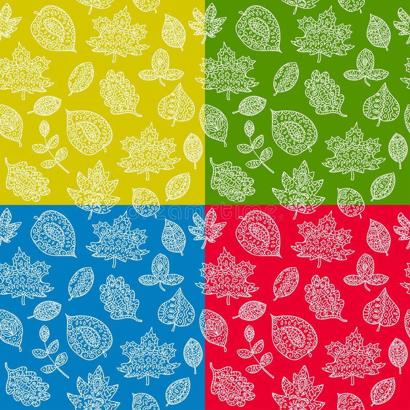 Doodle textured leaves seamless pattern. Endless texture can be used for printing onto fabric, paper or scrap booking, wallpaper, pattern fills, web page stock illustration