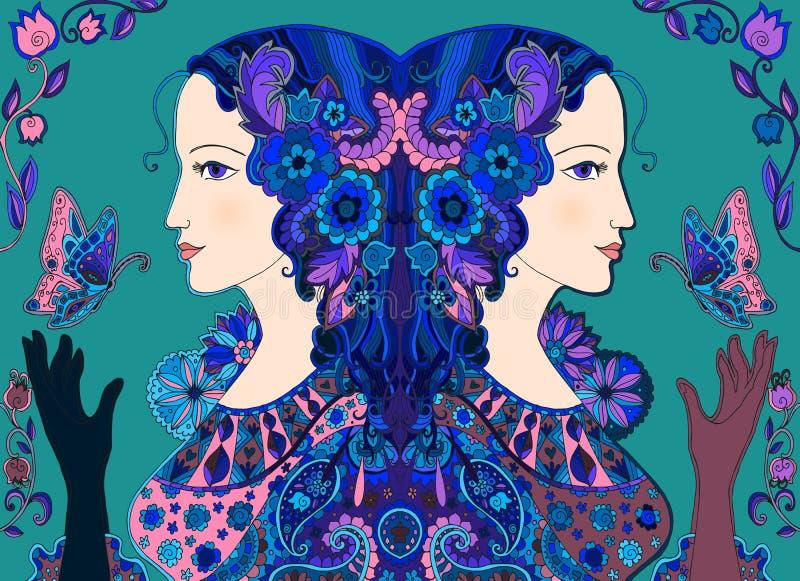 Doodle tirado mão Mulheres feericamente com borboletas e flores ilustração stock