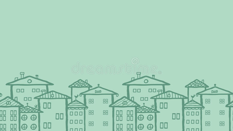 Doodle town houses horizontal seamless pattern royalty free illustration