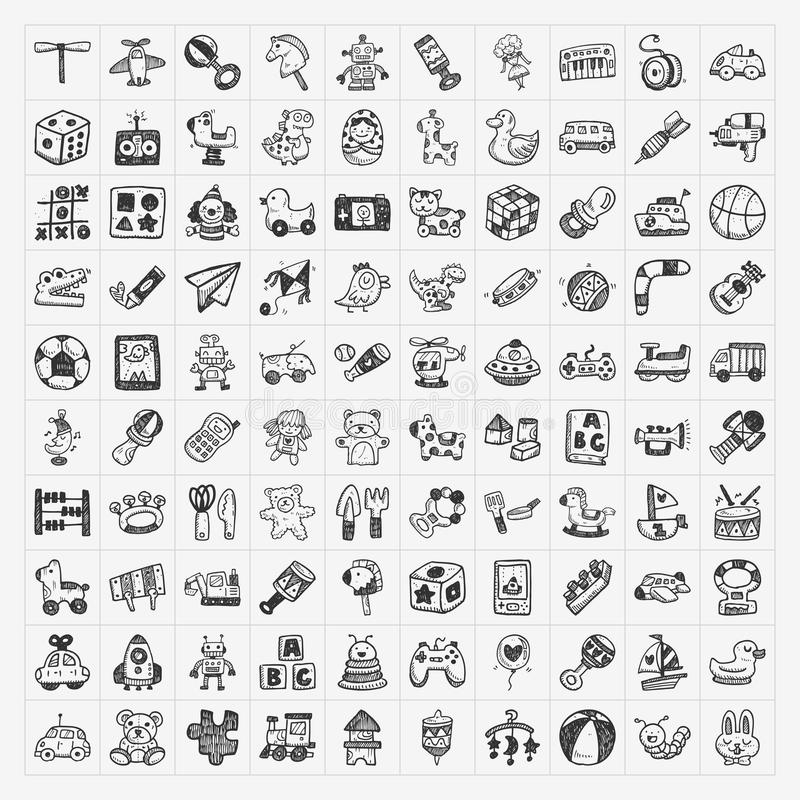 Doodle toy icons royalty free illustration