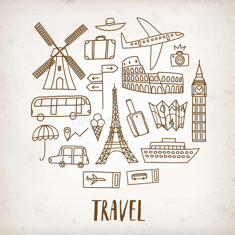 doodle travel drawings on old paper background stock illustration