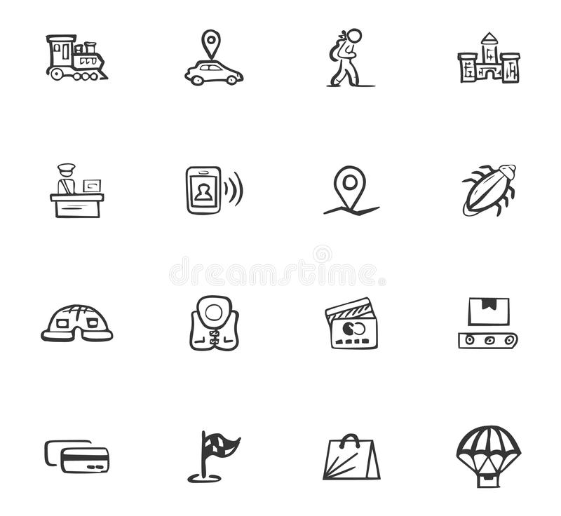 Doodle Travel icons set vector illustration