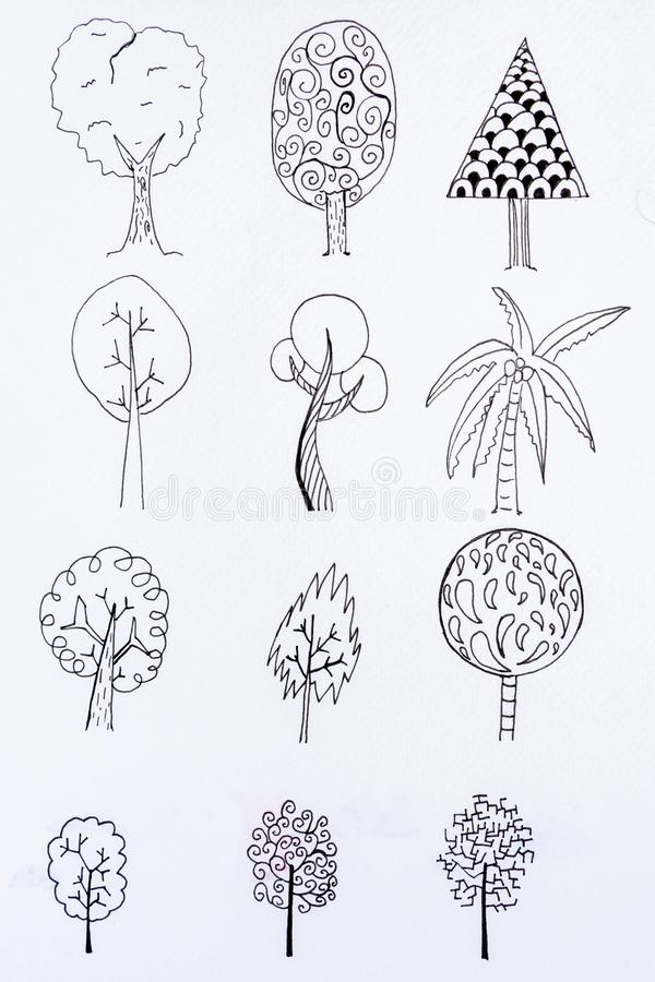Doodle tree sketch design. With illustration drawing stock image