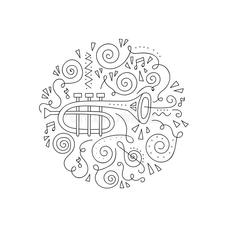 download doodle trumpet coloring page stock vector image 92475803