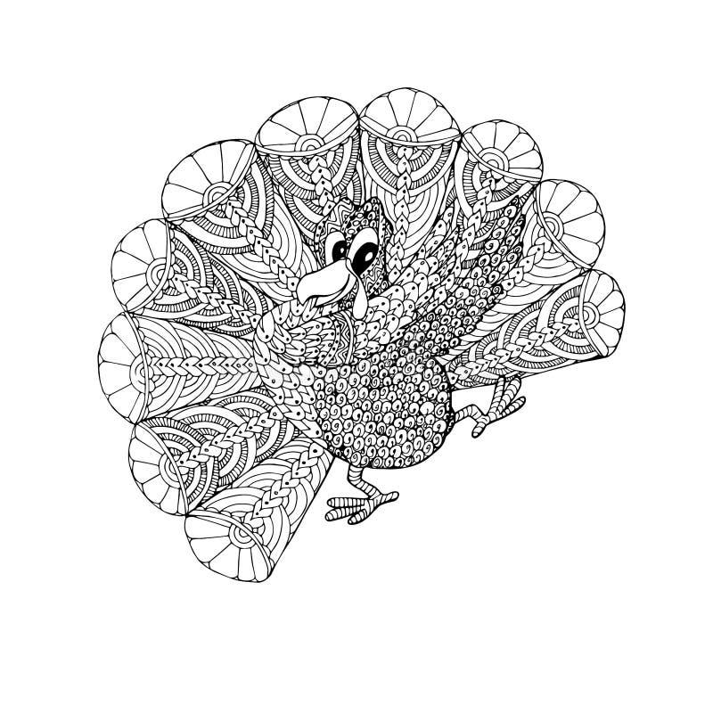 doodle turkey cartoons monochrome coloring page adult children web print art design elements stock vector