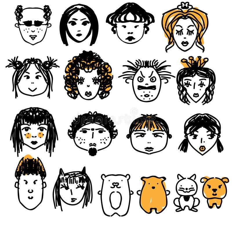 Doodle twarzy ludzie Ręki rysujący mężczyzna i kobiety avatars, śliczni zwierzęta Artisitic projekta elementy royalty ilustracja
