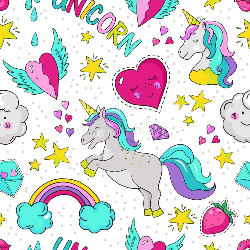 Doodle unicorn pattern. Seamless summer print, cute star heart rainbow typography template. Vector 90s repeat background vector illustration