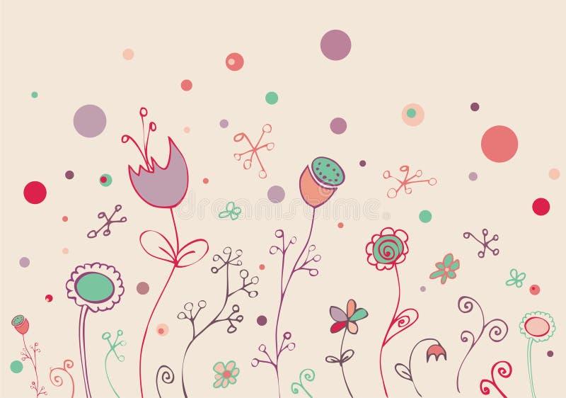 doodle uroczy kwiecisty ilustracja wektor