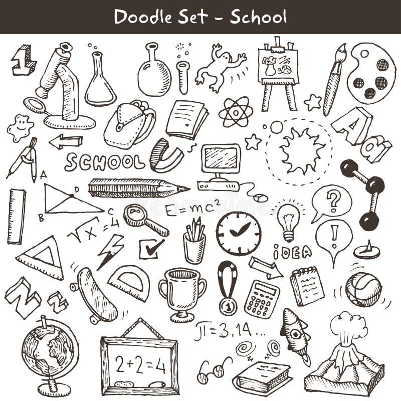 Doodle ustawiający - szkoła ilustracja wektor