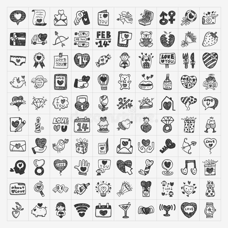 Download Doodle Valentines Day icon stock vector. Image of black - 36839069
