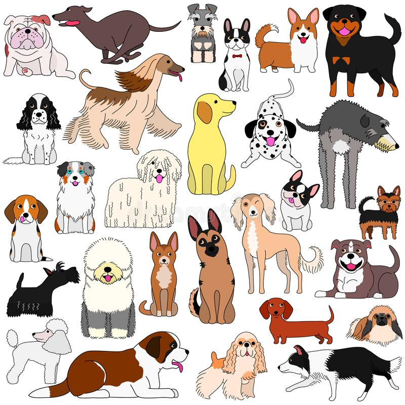 Doodle of various cute dogs stock illustration