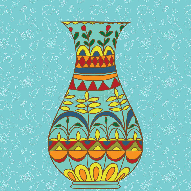 Doodle Vase For Flowers Stained Glass Stock Vector Illustration