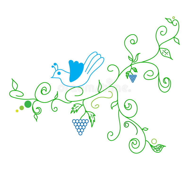 Doodle vector abstract vine grape and bird stock illustration