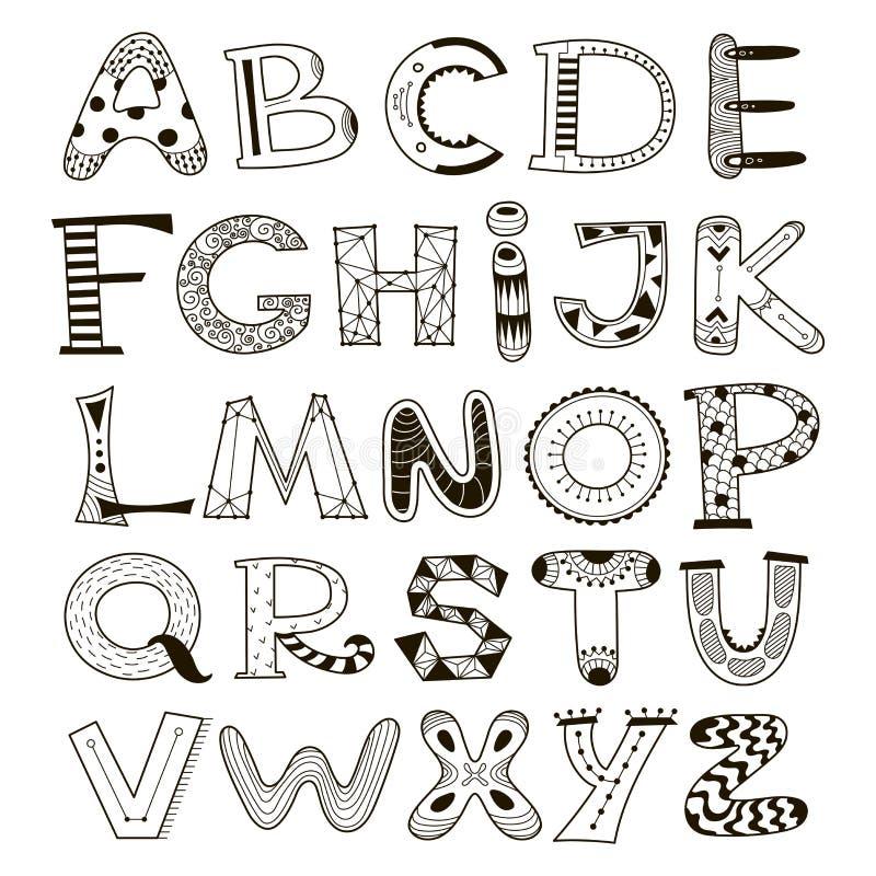 Doodle vector alphabet, letters set stock illustration
