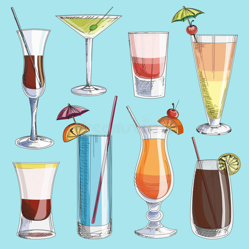 Doodle vector cocktails. Excellent vector illustration, EPS 10 stock illustration