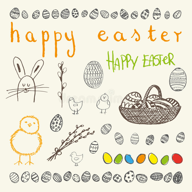 Doodle vector Easter set. Ink hand-drawn doodle vector Happy Easter set. Easter egg, willow branches, rabbit or bunny, Easter eggs in a basket, chicken stock illustration