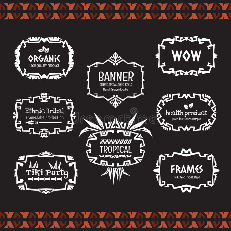 Doodle vector frame collection Ethnic tribal style. stock images