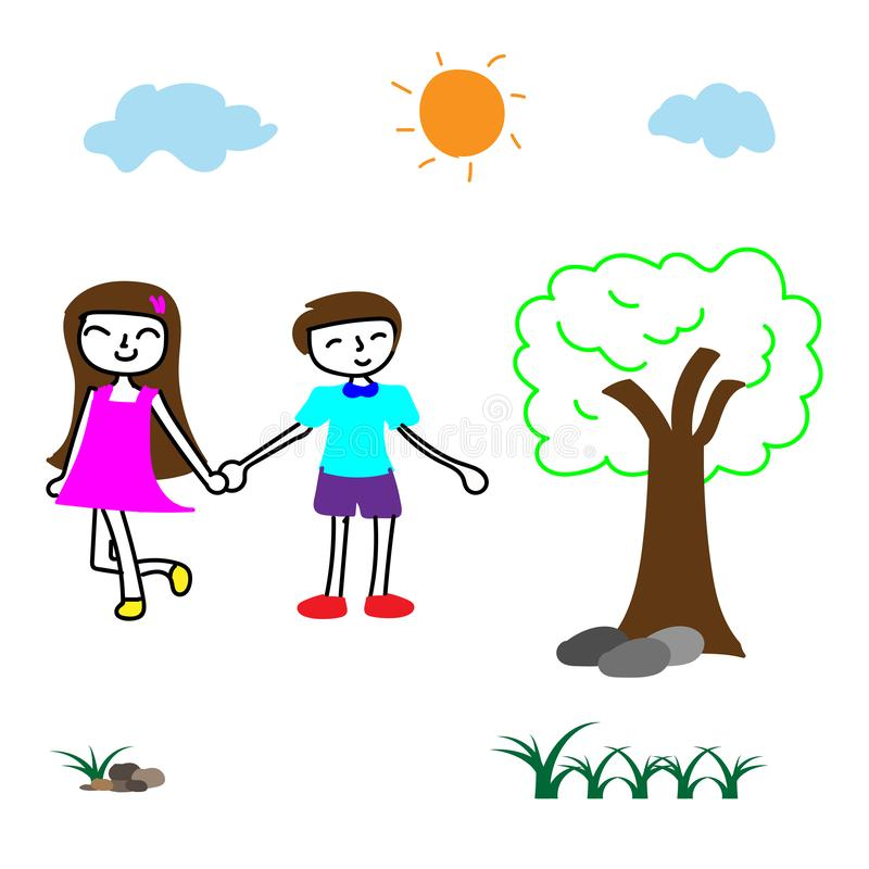 Doodle vector happy innocent boy and girl hold one`s hands in the park, children`s playground in the bright day vector illustration