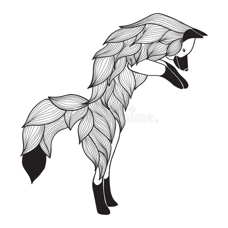 Doodle Vector Jumping Fox Stock