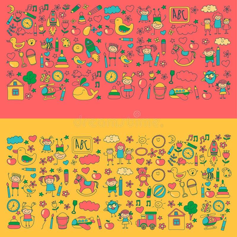 Doodle vector kindergarten elements royalty free illustration