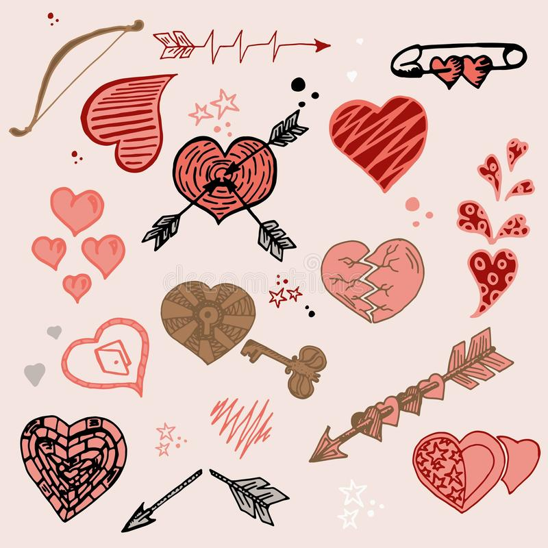 Doodle vector romantic set. Collection of hearts. Vintage elements for valentines day card, wedding, love theme. Hand vector illustration