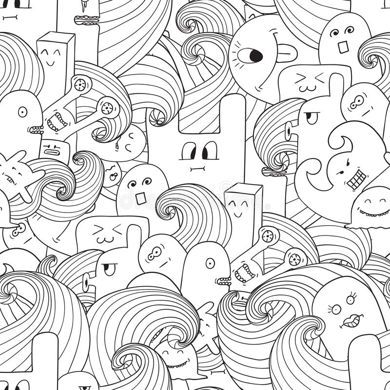 Doodle vector seamless pattern with monsters. Funny monsters graffiti. can be used for backgrounds, t-shirts Coloring book for adults stock illustration