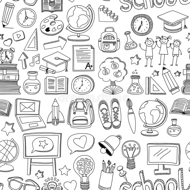 Doodle vector seamless pattern School and education stock illustration
