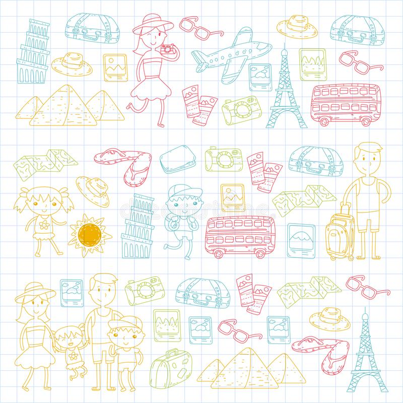 Doodle vector set Travel , vacation, adventure. Children with parents Preparing for your journeys. Kindergarten, school royalty free illustration