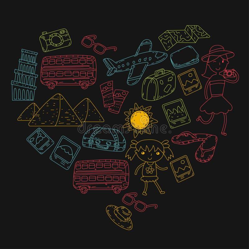 Doodle vector set Travel , vacation, adventure. Children with parents Preparing for your journeys. Kindergarten, school vector illustration