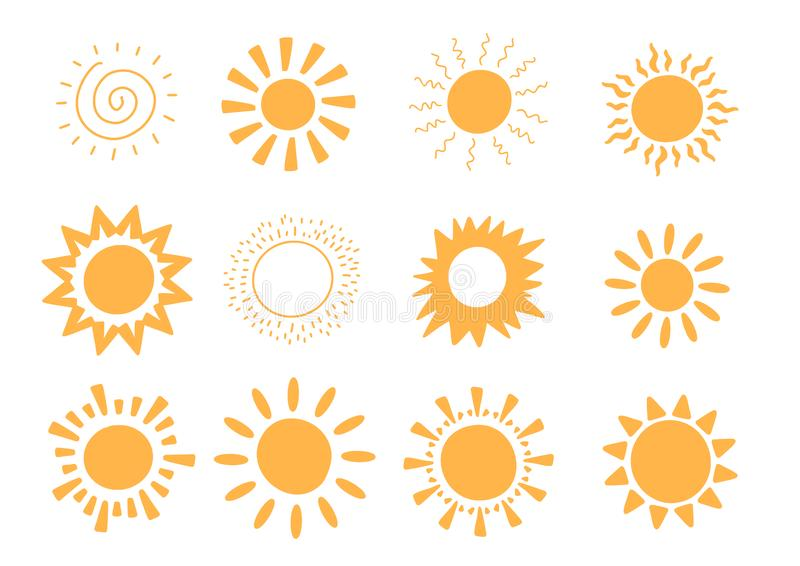 Doodle vector sun collection. Sunshine summer concept. Abstract warm shape. Cute Background.  vector illustration