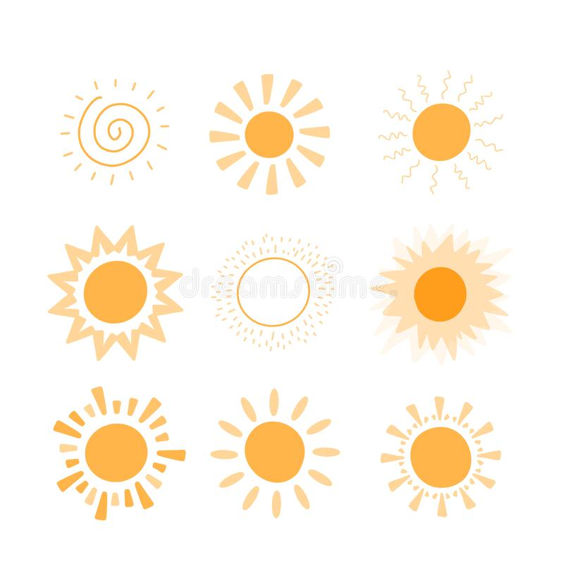 Doodle vector sun collection. Sunshine summer concept. Abstract warm shape. Cute Background.  royalty free illustration