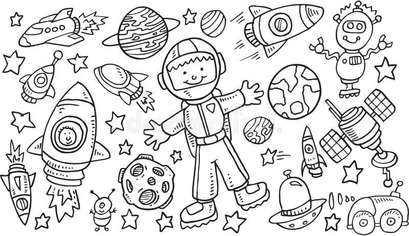 Doodle VectorSet космического пространства бесплатная иллюстрация