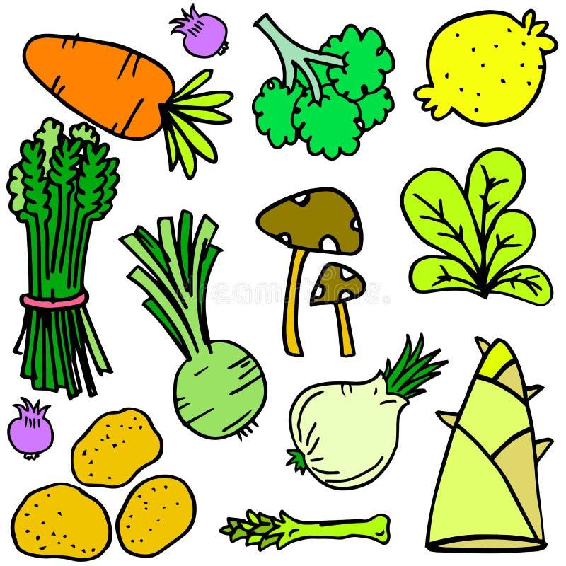 Doodle vegetable комплекта стиля иллюстрация вектора