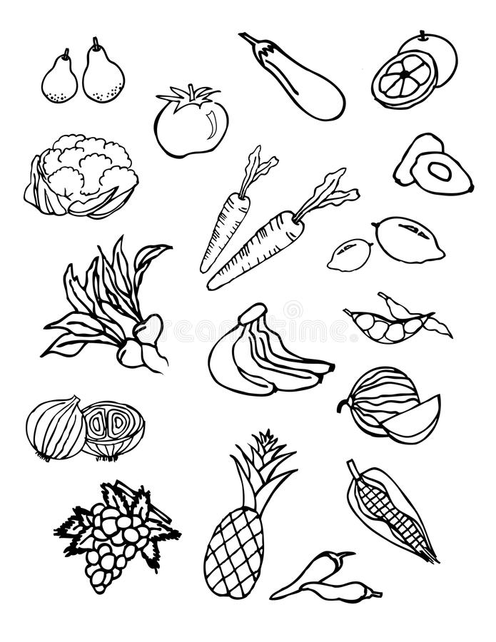 Doodle vegetable and fruit set. royalty free stock photography