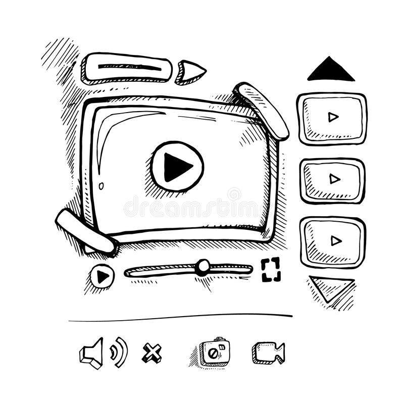 Doodle Video Movie Vector Stock Illustrations