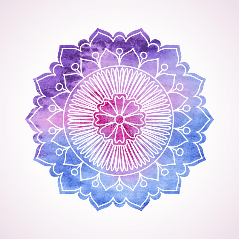 Doodle and watercolor flower vector illustration