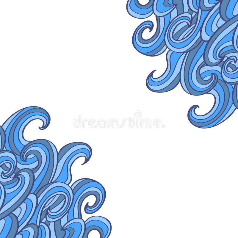 Doodle waves background with place for text. Swirl decorative corners stock illustration