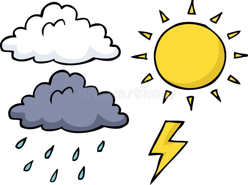 Doodle weather icon set vector illustration