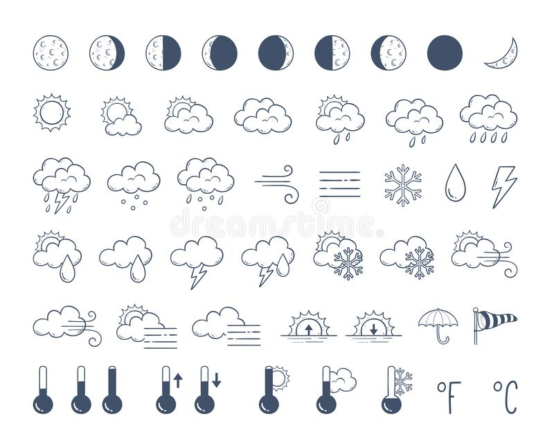 Doodle weather icons pack. Hand drawn icon set. royalty free illustration