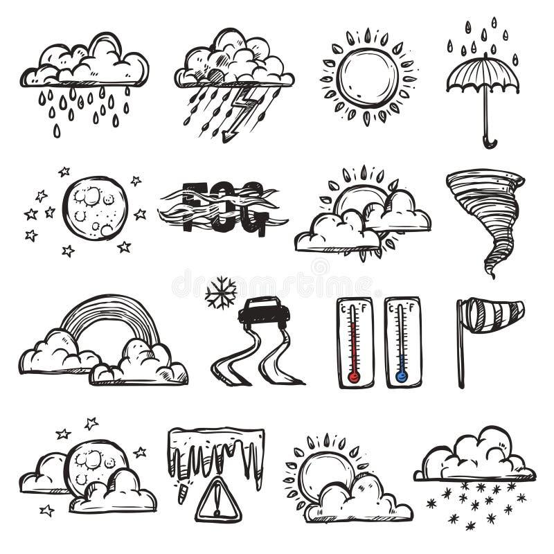 Doodle Weather Set vector illustration